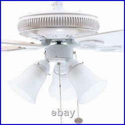 Hampton Bay Glendale 52 in. LED Indoor White Ceiling Fan with Light Kit