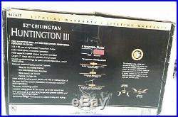 Hampton Bay Huntington III 52 Ceiling Fan 5 Blades Black Finish w Light Kit