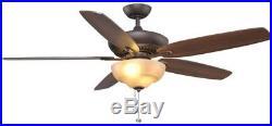 Hampton Bay Langston 60 in. Indoor Oil-Rubbed Bronze Ceiling Fan with Light Kit