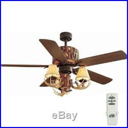 Hampton Bay Lodge 52 in. Indoor Nutmeg Ceiling Fan with Light Kit