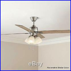 Hampton Bay Malone 54 in. LED Brushed Nickel Ceiling Fan with Light Kit