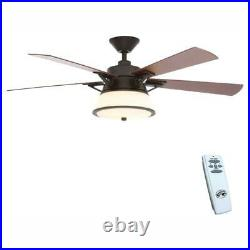 Hampton Bay Marlowe 52 in. LED Indoor Oil Rubbed Bronze Ceiling Fan withLight Kit