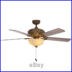 Hampton Bay Palisades 52 Indoor Tuscan Bisque Ceiling Fan with Light Kit 51271