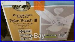 Hampton Bay Palm Beach III 48 Indoor/Outdoor Ceiling Fan in White with Light Kit