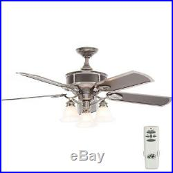 Hampton Bay Preston 52 in. Indoor Vintage Pewter Ceiling Fan with Light Kit