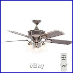 Hampton Bay Preston 52 in. Indoor Vintage Pewter Ceiling Fan with Light Kit READ