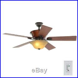 Hampton Bay Radcliffe 52 In/Outdoor Natural Iron Ceiling Fan withLight Kit&Remote