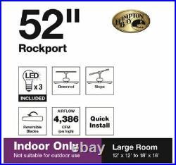 Hampton Bay Rockport 52 in. Bronze LED Ceiling Fan with Light kit 91851