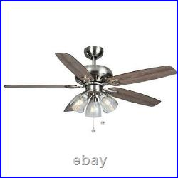 Hampton Bay Rockport 52 in. LED Brushed Nickel Ceiling Fan with Light kit