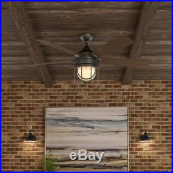 Hampton Bay Seaport 52 In. LED Indoor/Outdoor Natural Iron Ceiling Fan Light Kit