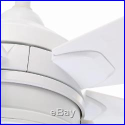 Hampton Bay Seaport 52 in. Indoor/Outdoor White Ceiling Fan withLight Kit 513349