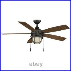Hampton Bay Seaport 52 in. LED In/Outdoor Natural Iron Ceiling Fan withLight Kit