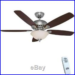 Hampton Bay Southwind 52 in. LED Brushed Nickel Ceiling Fan withLight Kit & Remote