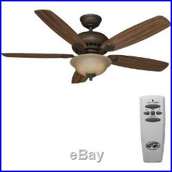 Hampton Bay Southwind 52 in. LED Indoor V. Bronze Ceiling Fan withLight Kit&Remote