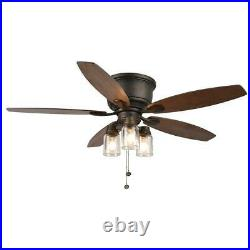 Hampton Bay Stoneridge 52 in. LED In/Outdoor Bronze Hugger Ceiling Fan Light Kit