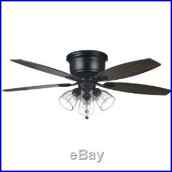 Hampton Bay Stoneridge 52 in. Matte Black Hugger LED Ceiling Fan with Light Kit