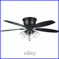 Hampton Bay Stoneridge 52 in Matte Black Hugger LED Ceiling Fan with Light Kit 643