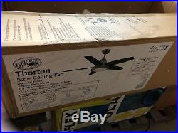 Hampton Bay Thorton 52 Indoor Gunmetal Ceiling Fan with Light Kit and Remote /212