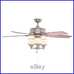 Hampton Bay Waterton II 52 in. Indoor Brushed Nickel Ceiling Fan with Light Kit