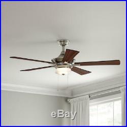 Hampton Bay Winthrop 52 in. Indoor Brushed Nickel Ceiling Fan with Light Kit