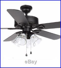 Harbor Breeze 52-in Black Ceiling Fan with Light Kit Elegant Easy Install New