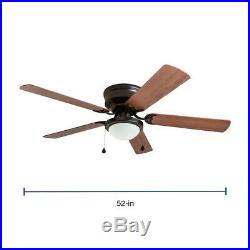 Harbor Breeze Armitage 52-in Bronze LED Indoor Flush Mount Ceiling Fan with Kit