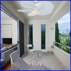 Havana Tropical Ceiling Fan 48 in. LED Indoor Outdoor Matte White Light Kit