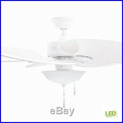 Havana White Ceiling Fan 48 in. Frosted Glass Bowl Light Kit LED Palm Blade