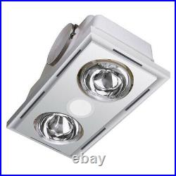 Heller 3 in 1 Ceiling Bathroom Exhaust withLED Light/Duct Kit/ Heater Globes White