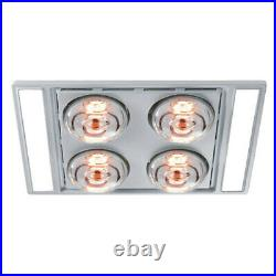Heller 3 in 1 LED Ceiling Bathroom Exhaust Fan with Duct Kit/Heat Globes Silver