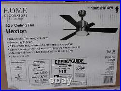 Hexton 52 in. LED Indoor Brushed Gold Ceiling Fan with Light Kit and Remote Cont