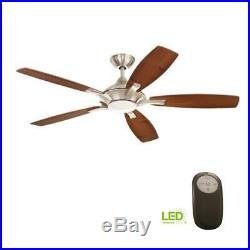 Home Collection Petersford 52 In Led Brushed Nickel Ceiling Fan Remote Light Kit