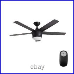 Home Decorators 52 Ceiling Fan Merwry Integrated LED Light Kit Matte Black