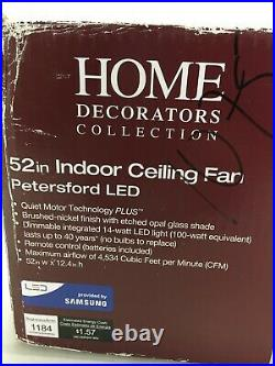 Home Decorators 52 Ceiling Fan Petersford Light Kit, Remote, Brushed Nickel
