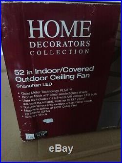 Home Decorators 52 in. LED Indoor/Outdoor Bronze Ceiling Fan with Light Kit