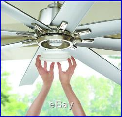 Home Decorators 72 in. LED Outdoor Brushed Nickel Ceiling Fan Light Kit Remote
