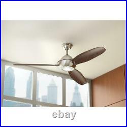 Home Decorators Aero Breeze 60 In. In/Outdoor B. Nickel Fan withLight Kit & Remote