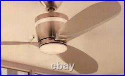 Home Decorators Federigo 48 in. Nickel Silver Ceiling Fan LED Light Kit, Remote