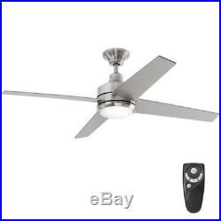 Home Decorators Mercer 52 in. LED Indoor Brushed Nickel Ceiling Fan with Light Kit