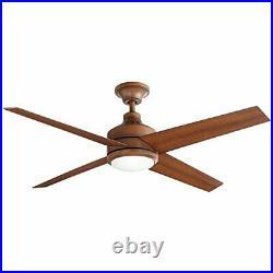 Home Decorators Mercer 52 in. LED Indoor Distressed Koa Ceiling Fan w Light Kit