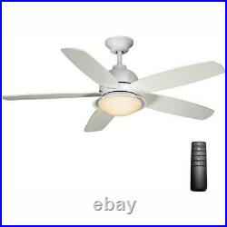 Home Deocrators Ackerly 52 in. LED Matte White Ceiling Fan with Light Kit & Remote