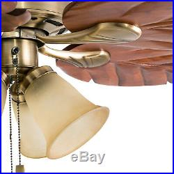 Honeywell 52 Tropical LED Ceiling Fan with Light Kit Aged Brass Finish Fixture