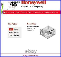 Honeywell Carmel 48-Inch Ceiling Fan With Integrated Light Kit And Remote Contro