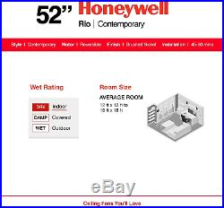 Honeywell Ceiling Fans 50195 Rio 54 Ceiling Fan With Integrated Light Kit And R