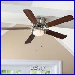Hugger 52 in. LED Indoor Brushed Nickel Ceiling Fan with Light Kit
