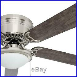 Hugger Ceiling Fan Led Bulb Light Kit 5-Reversible Blades Brushed Nickel 56 Inch