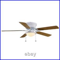 Hugger Ceiling Fan with Light Kit LED 52 in. Indoor-White