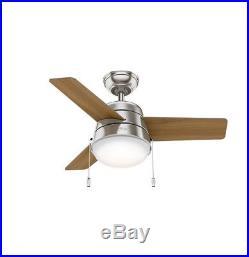 Hunter 36 Modern Ceiling Fan in Brushed Nickel with LED Light Kit