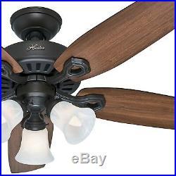 Hunter 42 New Bronze Traditional Ceiling Fan- Swirled Marble Glass Light Kit
