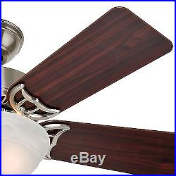 Hunter 42 Traditional Ceiling Fan in Brushed Nickel with Amber Linen Light Kit